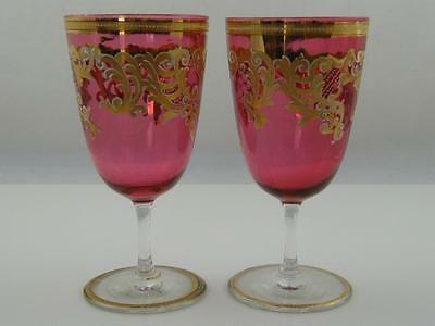 Pair Of Antique Cranberry Gilded Goblets