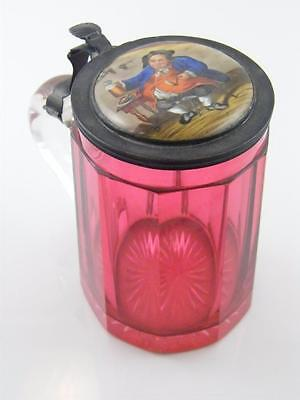 C.1870 Cranberry Glass & Hand Painted Porcelain Lid Tankard