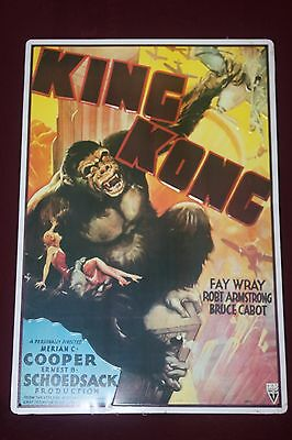 """King Kong Classic Movie Embossed Tin Sign 16"""" x 11"""" From 1933 Movie Poster NICE"""