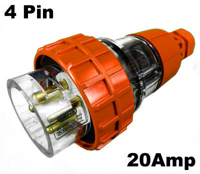 GEN3 20 AMP 3 Phase 4 Pin Round Straight Plug Top