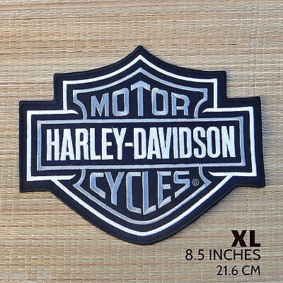 Harley Davidson Classic Silver Logo Sew-on Patch (XL)