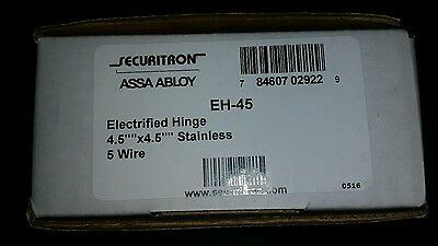 """Brand New Securitron EH-45 Electrified Hinge, Stainless, 5 Wire, 4.5"""" x 4.5"""""""