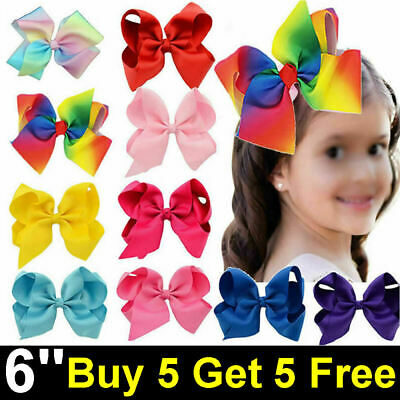 6 Inch Big Bow Hair Clip Pin Aligator Clips Grosgrain Ribbon Bow Flower Girl