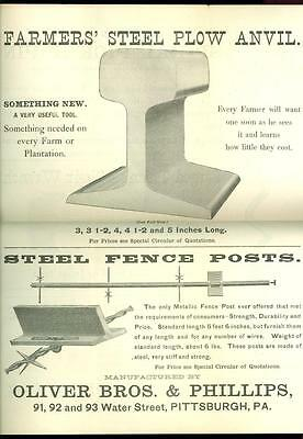 1890s Orig. Brochure- STEEL FENCE POSTS & ANVILs- OLIVER BROS.-Pittsburgh PA-2pg