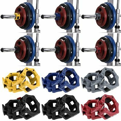 """2"""" 50mm Lock Jaw Olympic Barbell Collars Weight Lifting Gym Crossfit Training"""