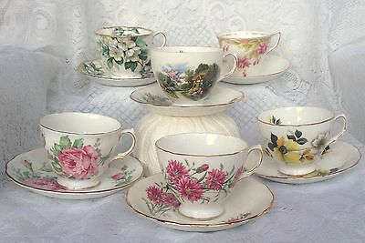 """6 Vintage Tea Cup/Saucers great for Display/Mad Hatter Tea Party"""" 76"""