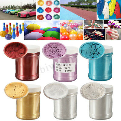 100g Pearl Pigment Powder Metal Sparkle Shimmer Paint 7 color  80grit / 400 grit