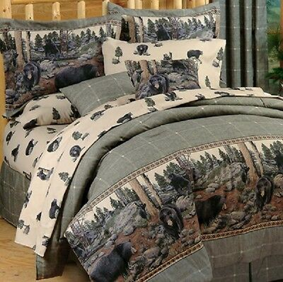 The Bears 3 Pc TWIN Comforter Set - Bedding Log Cabin Mountain Woods Country
