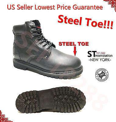 LM Men's Work Boots Winter Shoes With Steel Toe Water Resistant 6012ST Black