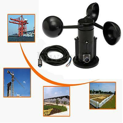Wind Speed Sensor Anemometer Three Cups Voltage Output 0-5V + 3 Meters Of Cable