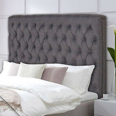 Bed Head Queen Headboard Upholstered Fabric Button Studded Charcoal Colour Sean