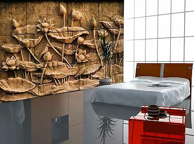 Lotus Flower Stone Carving Wall Mural Photo Wallpaper GIANT DECOR Paper Poster