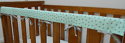1 x Baby Cot Rail Cover Crib Teething Pad - Grey Dots on Aqua Cotton **REDUCED**