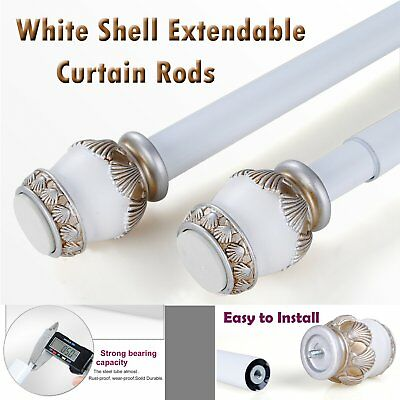 White Shell Extendable Telescopic Net Voile Tension Curtain Rail Pole Rod Rods