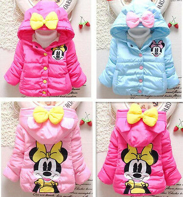 Baby Girls Toddler Kids Cartoon Winter Hooded Hoodies Jacket Coat Outwear Jumper