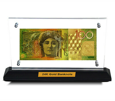 Acrylic Frame Australian $100 Polymer Bank Note 24Kt Gold Limited Edition Colour