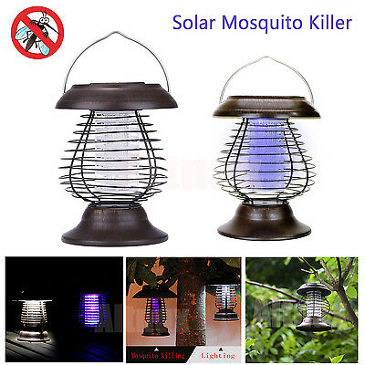 Solar Powered Lamp Light Portable Moth Insect Zapper Mosquito Killer