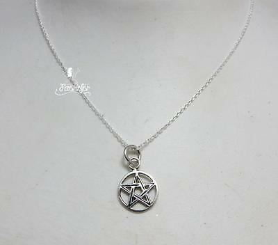 Sterling silver small Pentagram in Circle pendant necklace .925 pagan gift