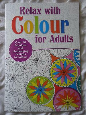 Relax With Colour For Adults  - A4 Size Colouring Book - 48 Patterned Pages- New