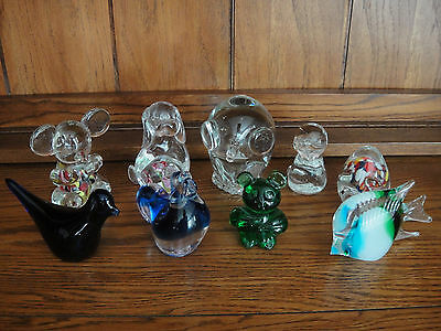 Lot of 9 Small Animal Art Glass Paperweights with Fish, Bird, Rooster, Pig, Owl