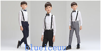 Boys Suits 4 Pcs Shirt-Ties ,SUIT pants Wedding Page Boy Baby Formal Party sets