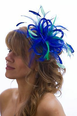 Royal Blue with Emerald green Fascinator Hat choose any colour satin/feathers