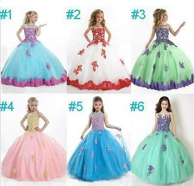 New Flower Girl Dress Princess Kids Pageant Party Dance Wedding Birthday Gown AA
