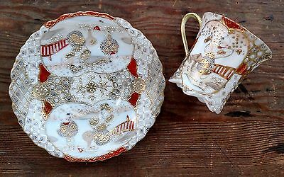 Antique Satsuma Footed Cup And Saucer Set Delicate Man Woman People Signed