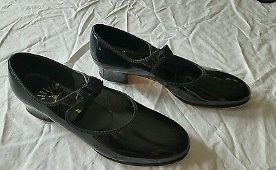 Capezio Black Patent Tele Tones TAP DANCE Shoes Womens 8 M ~ EXCELLENT!