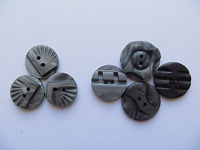 Assorted 1930s Vintage Sm Carved Grey Galalith Craft Collectible Buttons-17/19mm