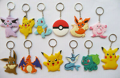 POKEMON PIKACHU SQUIRTLE CHARIZARD KEY RING Keychain Party bag filler NEW