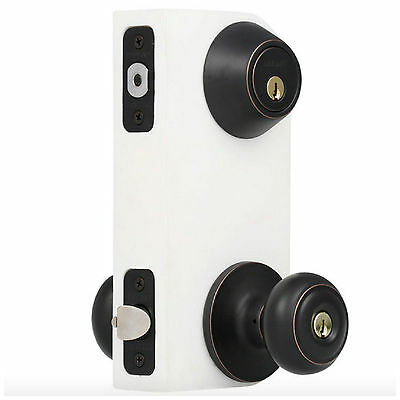 Modern Keyed Entry Home Front Door Knob Lock Deadbolt Combo Security Set Bronze