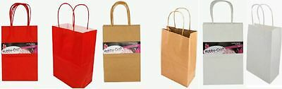 Craft Paper Gift Bags with handles  (Packs of 2-4pcs) RED WHITE BROWN KRAFT New