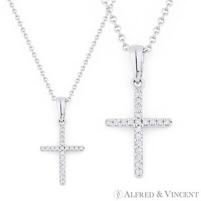 0.06ct Round Cut Diamond Cross Charm Crucifix Pendant Necklace in 14k White Gold
