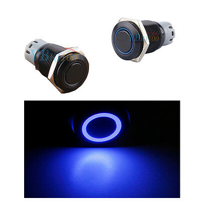 12V 16mm Black Metal Switch Blue LED Push Button Latching Switch For Car