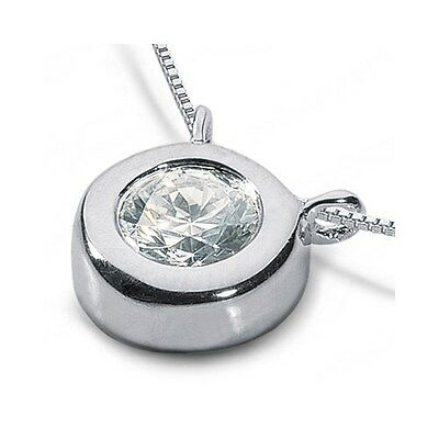1.58ct J-SI1 Ideal Round Certified Diamond 14k Gold Bezel Solitaire Pendant 2.6g