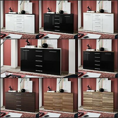 Modern Chest Drawers Cabinet Sideboard Cupboard Commode Glossy FOX Free P&P