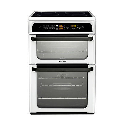 Hotpoint Ultima HUI62T P Free Standing Double Electric Cooker Ceramic Hob White
