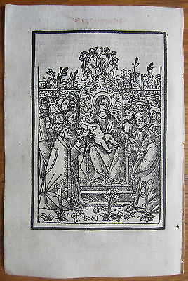 Post Incunable Leaf Breviary Brevarium Woodcut Virgin Child - 1508
