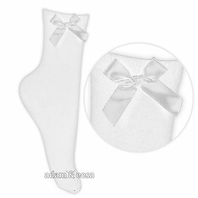 3 Pairs of White Ankle Socks with Silky Bow for Girls School Wear Formal