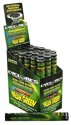 24x (1 Box) Cyclones Mean Green prerolled Kräuterblunts mit Holztip Blunts