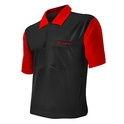 Dart Shirts - Target Cool Play 2 - Breathable - Black with Red - Small-5XL