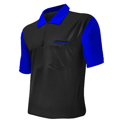 Dart Shirts - Target Cool Play 2 - Breathable - Black with Blue - Small-5XL