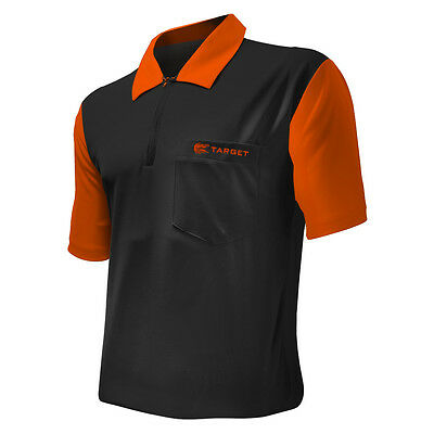 Dart Shirts - Target Cool Play 2 - Breathable - Black with Orange - Small-5XL