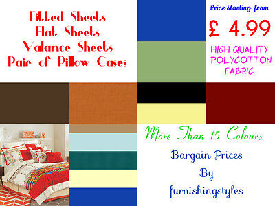 Polycotton Plain Dyed Fitted Flat Valance Sheets Pillow Cases 19 Colors All Size