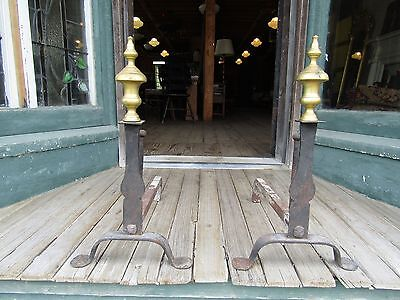 Early Antique Iron Knifes Edge Andirons W Brass Finial
