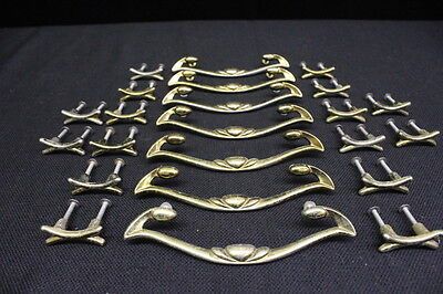 23 Pc Vintage Reclaimed Brass Tone Drawer Handles 1227 & Pulls 1854 w/Hardware