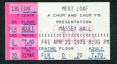 Meat Loaf Teaz 1978 Concert Ticket Stub Toronto Canada Bat Out Of Hell Tour