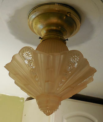 Small Vintage 30s Art Deco Consolidated Glass Ceiling Light Fixture Slip Shade