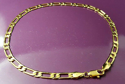 18K Gold Filled Stylish Italian Smooth 1+1 Figaro 18ct GF Anklet 25cm